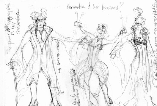 Costume sketches of Garmentia, K-O-Tique, and The Fixer.