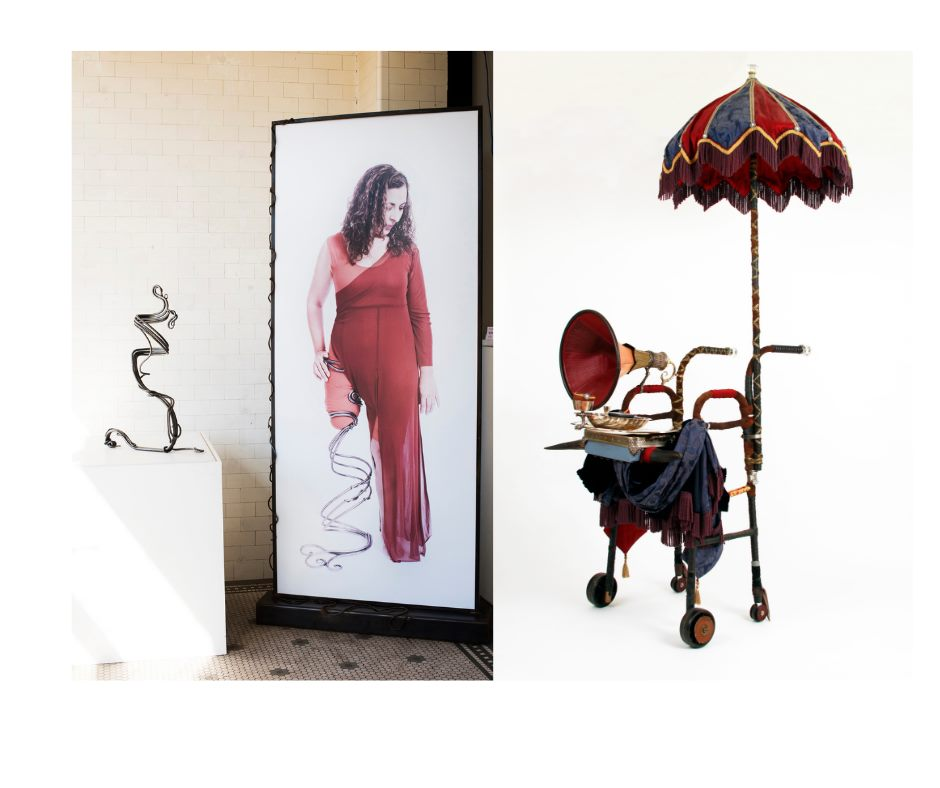 On the left is a swirled metal leg prosthetic, in the center is a life-sized photo of a woman in red wearing that leg, and on the right is a walker dressed up as a mobile Victorian bath house.