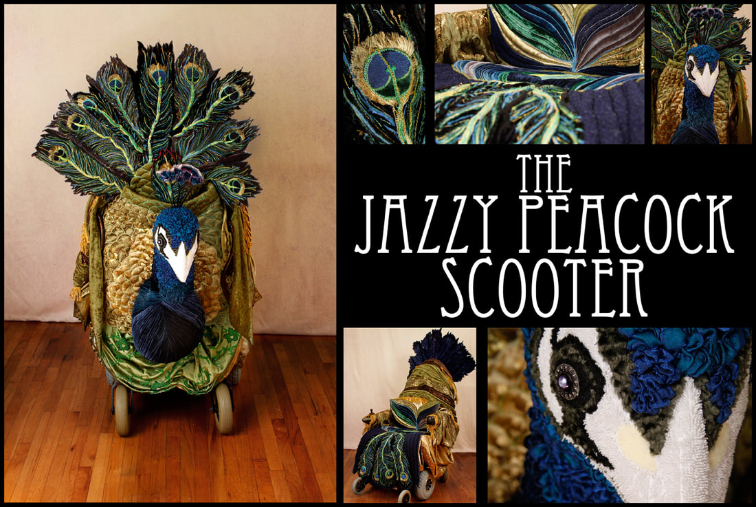 Multiple images of a mobility scooter dressed as an Art Nouveau peacock.