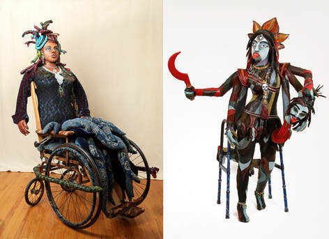 On the left is a sculpture of Medusa built into a vintage wheelchair. On the right is a version of the goddess Kali built into a walker.