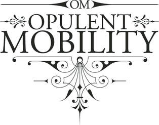 A black and white logo in curly, ornate black swirls and text on white. The text reads OPULENT MOBILITY.